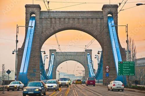 Valokuvatapetti Wroclaw, Poland - Grunwaldzki Bridge