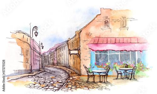 Foto auf AluDibond Gezeichnet Straßenkaffee cafe