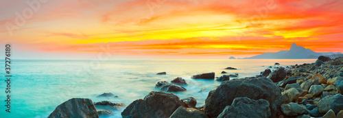 Poster Mer coucher du soleil Sunset panorama