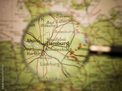 Türaufkleber Weltkarte Map of Hamburg