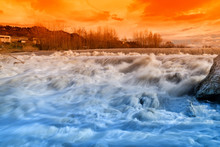 Amazing River In The Sunset
