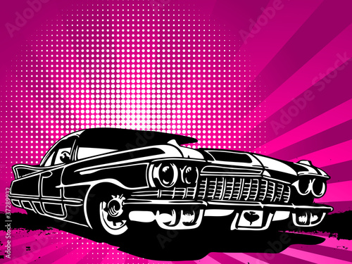 old vintage car on modern background Wallpaper Mural