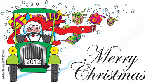 Poster de jardin Zoo santa claus with car and gifts