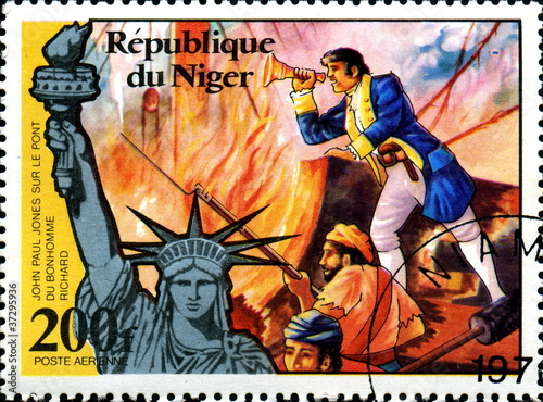 John Paul Jones. Bonhomme Richard. Timbre postal Niger. Wallpaper Mural
