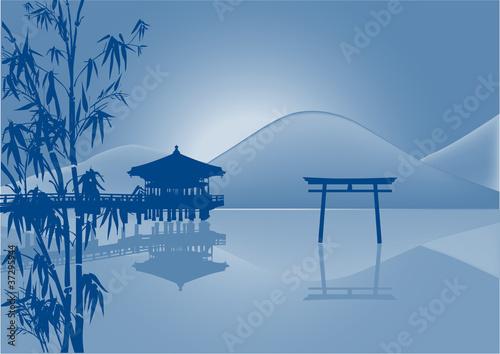 pavilion and reflection in pond blue illustration