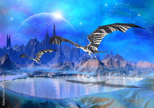 Foto op Aluminium Draken Dragons - Fantasy World 02