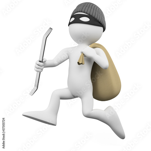 Fotografía  Thief running with a crowbar and a sack