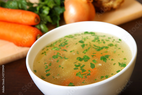 Fotografie, Obraz  Delicious chicken soup