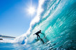 canvas print picture - Surfer on Blue Ocean Wave