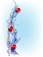 Christmas Tree Branch With Red...