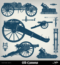 Engraving Vintage Cannon Set.