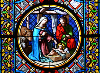 Naklejka Nativity Scene. Stained glass window in the Basel Cathedral.