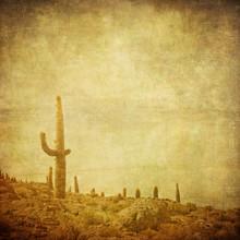 Grunge Background With Wild West Landscape.
