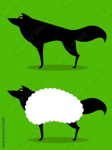 Wolf In Sheeps Clothing idiom Wallpaper Mural