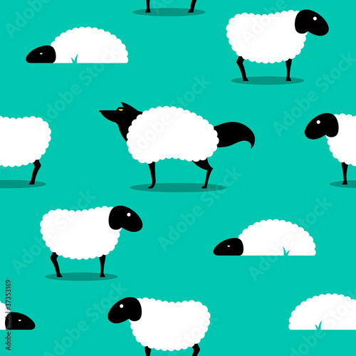 Photo Wolf In Sheeps Clothing seamless Background idiom