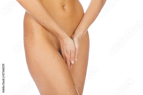 Fototapeta close up of a woman body with close hands between the legs obraz