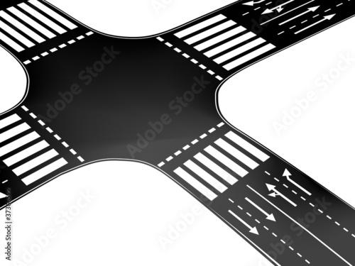 Fotografie, Obraz Vector crossroad