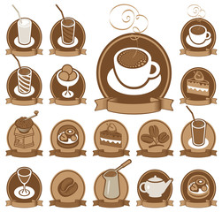Tapeta set of icons for coffee shop