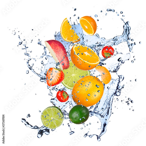 Poster Fruit Fresh fruit in water splash
