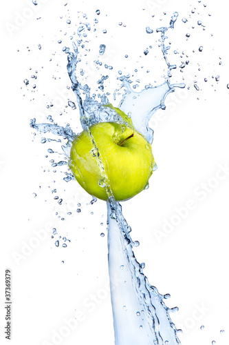 Poster Eclaboussures d eau Fresh apple in water splash