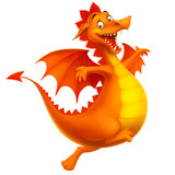 Fototapeta Dinusie - vector cute smiling happy cartoon dragon isolated on white