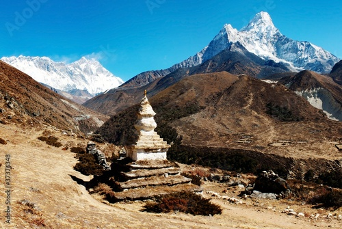Wall Murals Nepal Ama Dablam Lhotse and top of Everes
