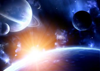 Fototapeta kosmiczny błysk | planety