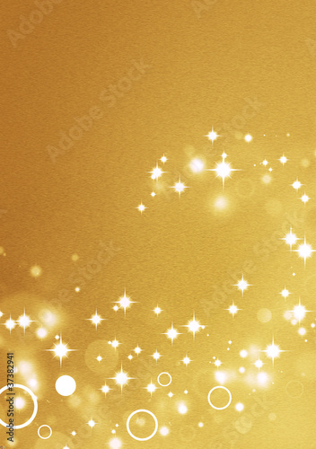 Fotografía Gold background with circle light effects and shiny stars