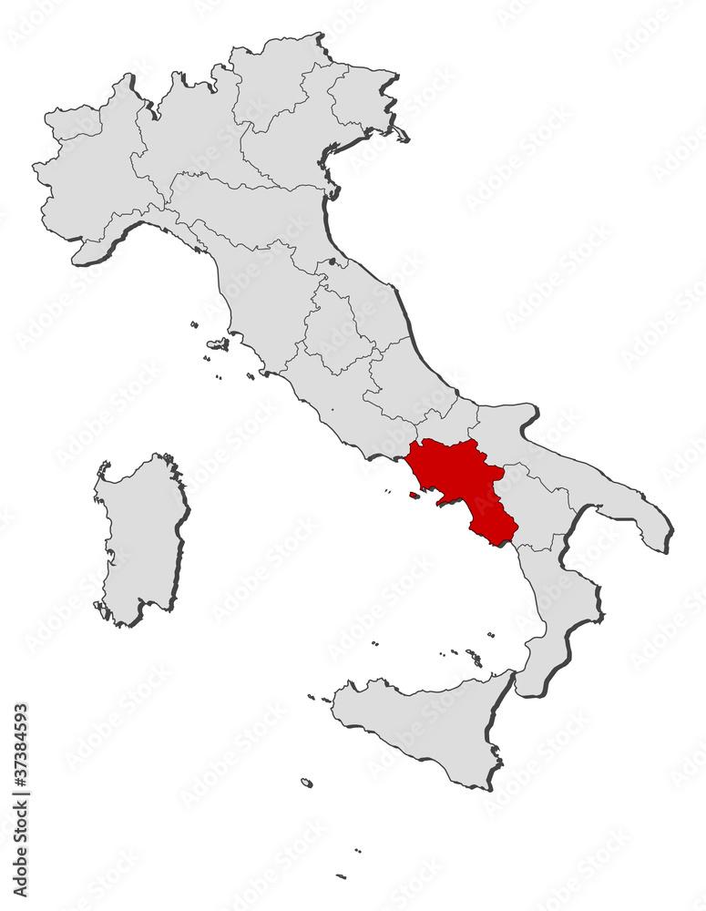 Map of Italy, Campania highlighted Foto, Poster, Wandbilder bei ...
