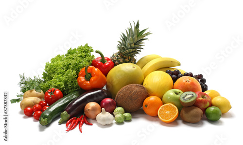 Staande foto Vruchten Fresh vegetables and fruits on white
