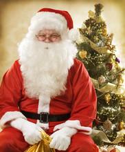 Santa Claus. Sepia Toned Christmas Card