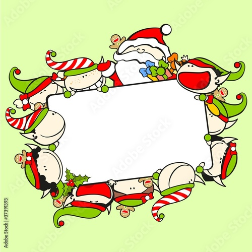 Christmas frame with Santa Claus and elves - Buy this stock vector ...