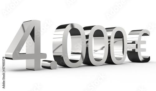 Fotografia, Obraz  4000 Euro 3d Schrift chrom