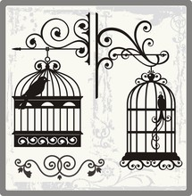 Vintage Bird Cages With Orname...