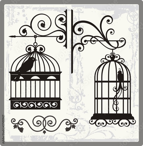 Poster Birds in cages Vintage Bird Cages with Ornamental Decorations