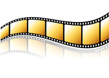 Golden Film Strip With Reflect...