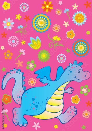Wall Murals Dinosaurs Funny dragon.