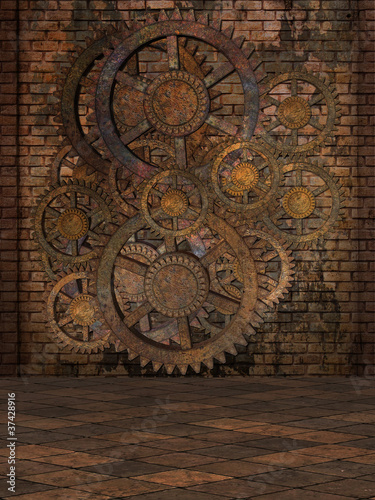 Stampa su Tela Steampunk Background