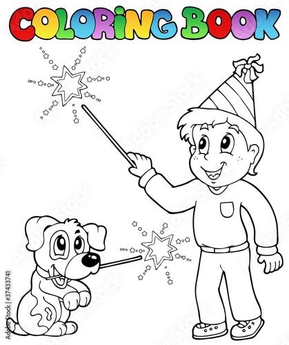 Türaufkleber Zum Malen Coloring book boy with sparkler