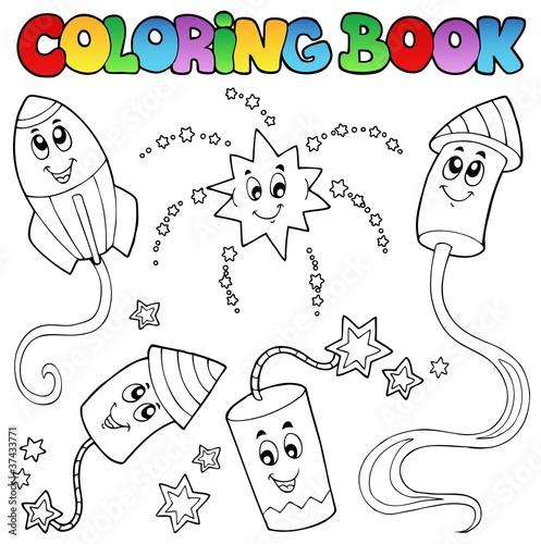 Tuinposter Doe het zelf Coloring book fireworks theme 2