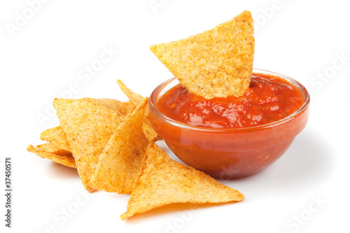 Fotografía  Nachos, corn chips with fresh salsa