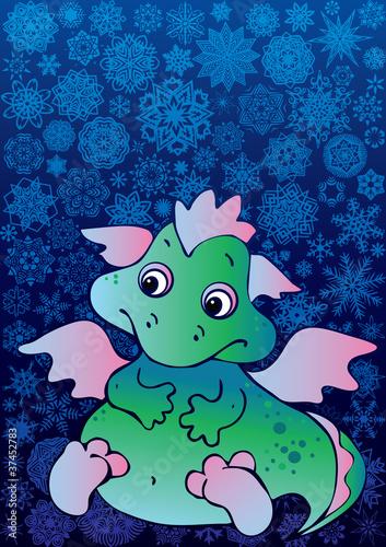 Keuken foto achterwand Dinosaurs New Years card with baby dragon.