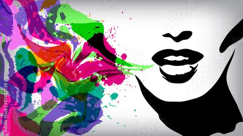 mowiaca-kobieta-mody-tla-pojecie