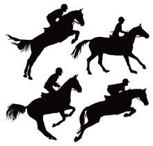 Jumping Horses With Jockey