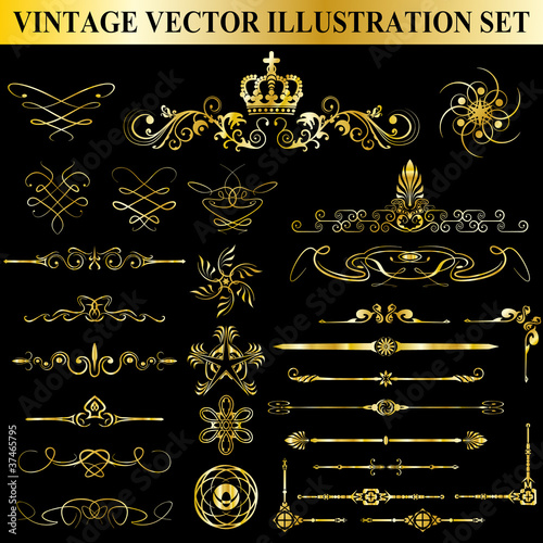 Vintage Vector Illustration Set Canvas Print