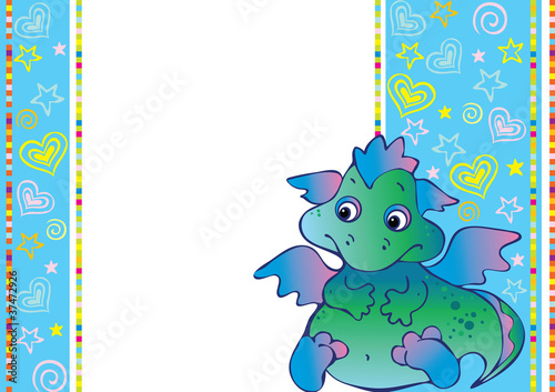 Tuinposter Dinosaurs New Years card with baby dragon.