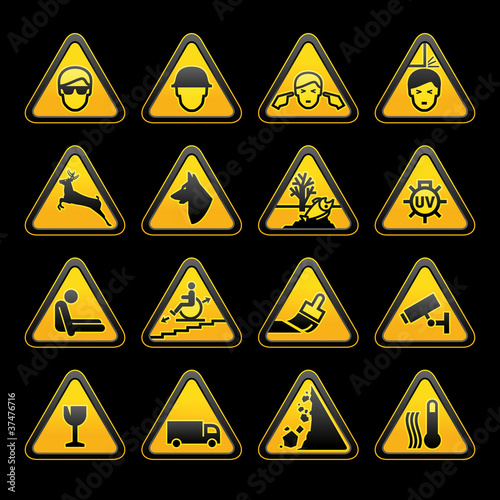 Photo Warning symbols Safety signs set
