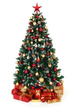 Green Decorated Christmas Tree And Presents