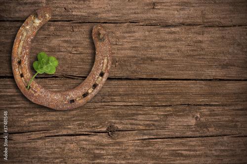 Foto auf AluDibond Pferde Hintergrund mit Glücksbringern