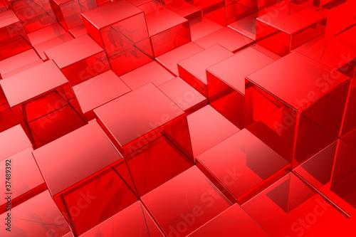 fototapeta na lodówkę red cubes